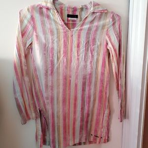 CHIPIE France long sleeve cotton striped tunic top